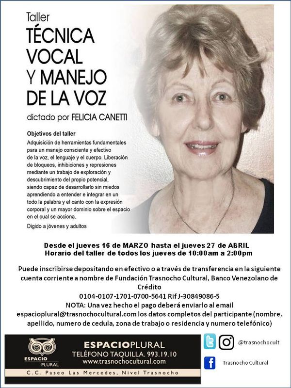 MSC Noticias - Afiche-Taller-Técnica-Vocal-Trasnocho-marzo2017 Teatro Trasnocho Cultural