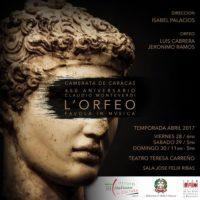 La Camerata de Caracas en el marco del 450 Aniversario del nacimiento de Claudio Monteverdi presenta la Ópera L' Orfeo